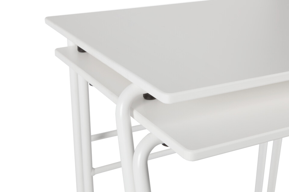 Royal Ahrend 456 seminar table in white stacked front left detail view