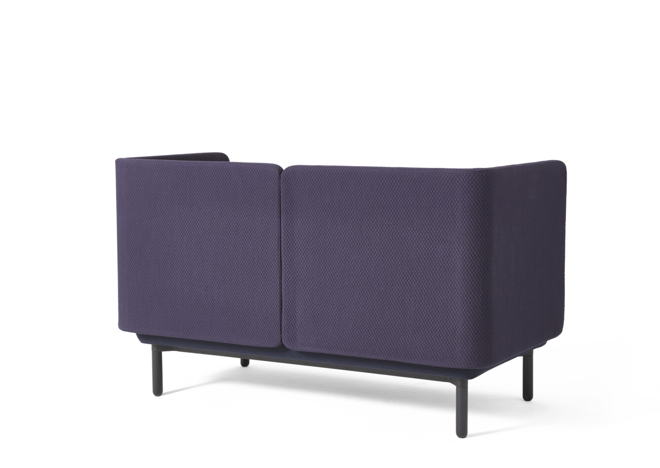 Royal Ahrend Charge sofa with black frame and upholstered in blue rear left view