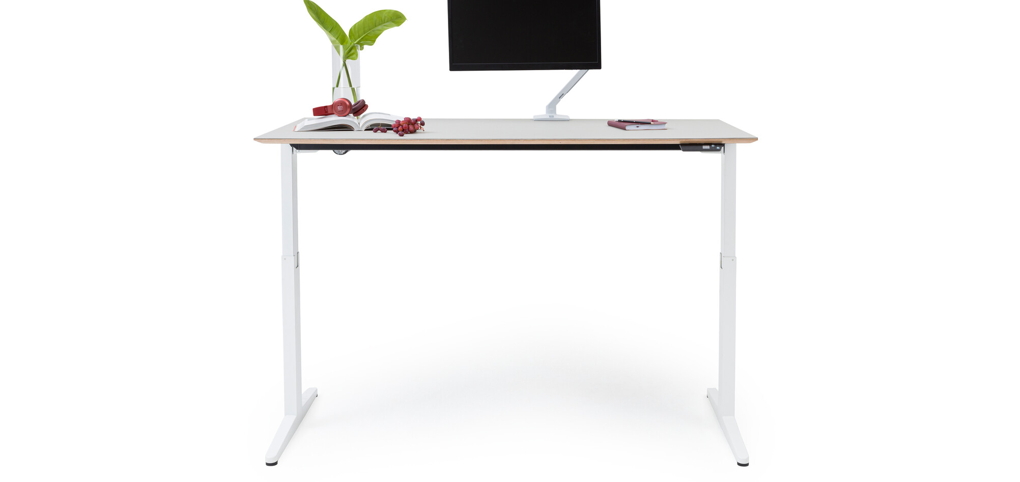 Royal Ahrend Balance folding desk with white frame and grey tabletop in standing position front view