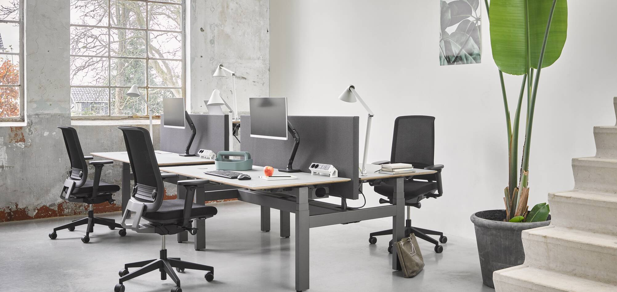 Ahrend Balance four back workstations with Ease office chairs in a Hybrid working community setting