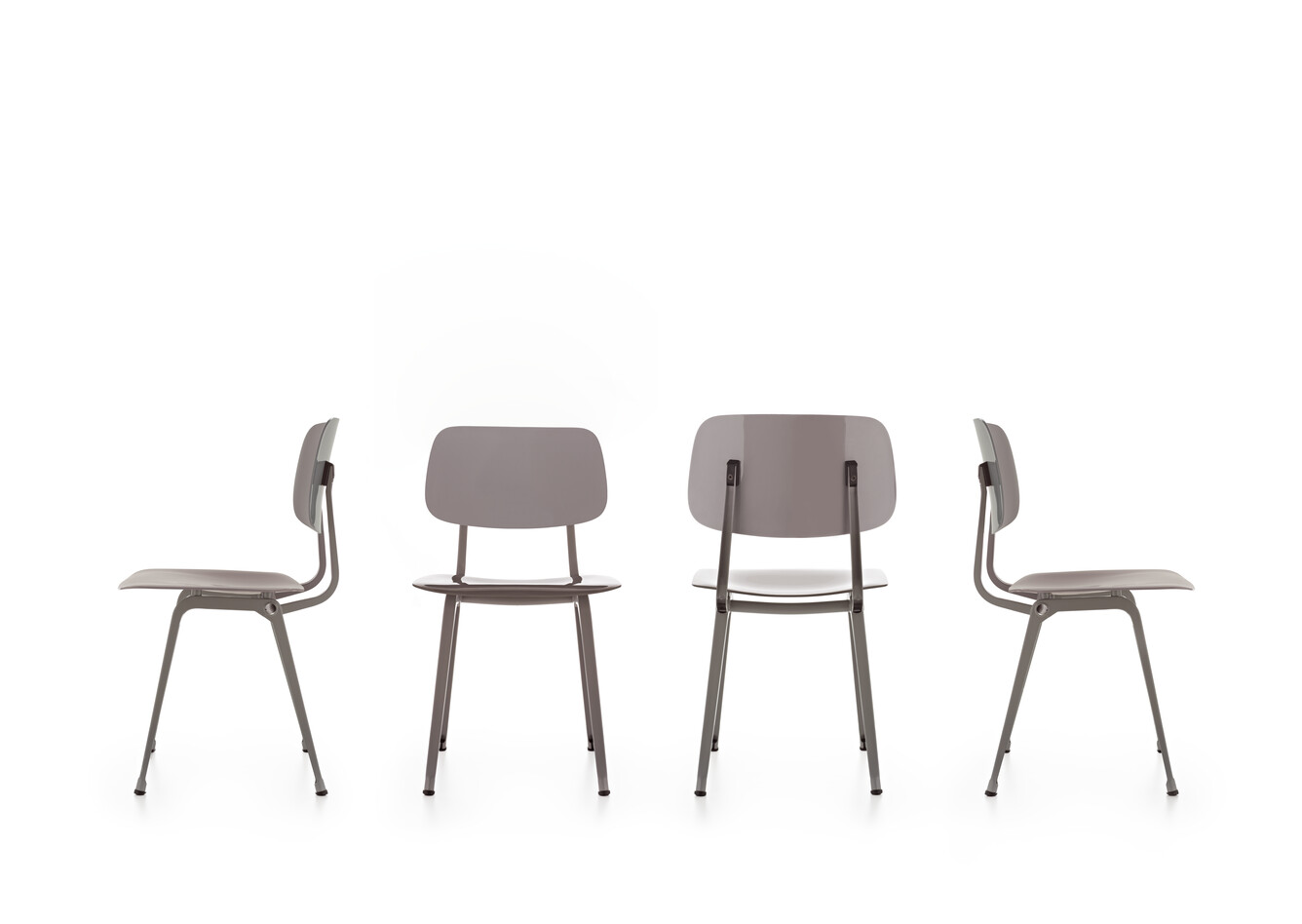 Royal Ahrend Revolt chairs in grey front view