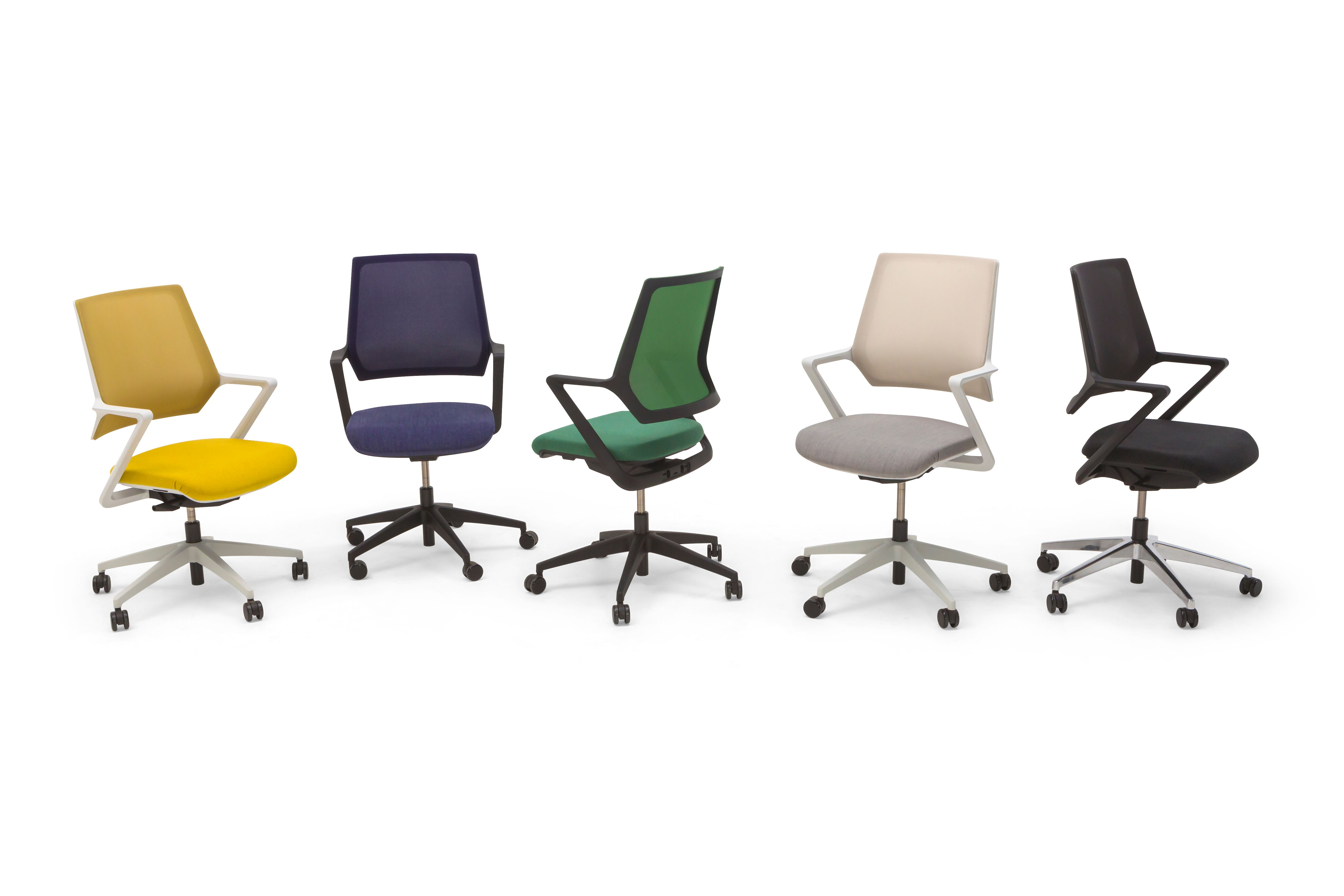Gispen Zinn Multi task chairs range upholstered in yellow blue green white and black front view