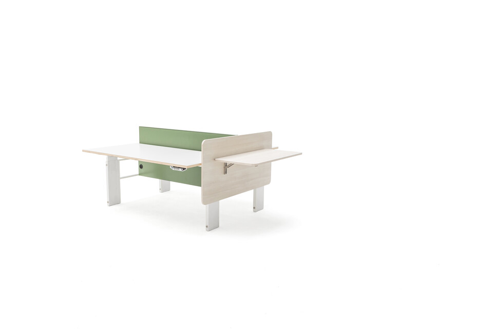 Gispen Cimo dual table with white frame and dual yoke open with white plywood tabletops and green steel screen perforated  front right view