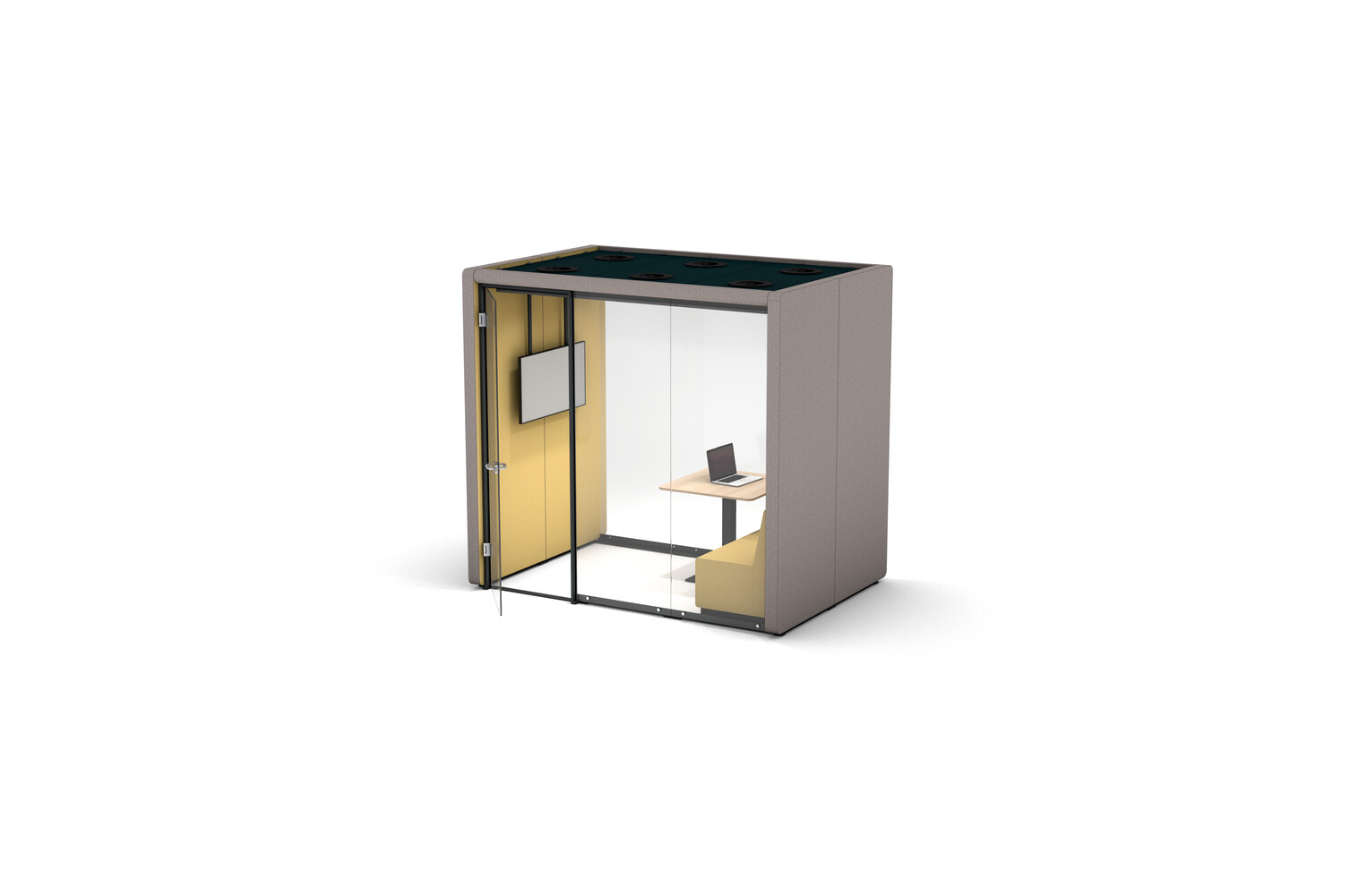 Gispen MOXX space in space 2 by 3 panels upholstered in grey and yellow with swivel door and JUNA trainbench and KOLM table front right view