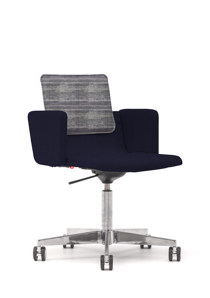 Gispen Triennial Work chair with armrests and seat in Hero 791 with back in Memory 156 front left view