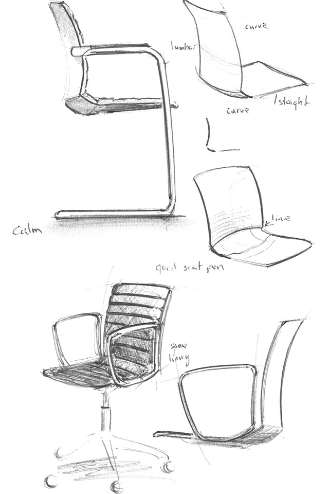 Royal Ahrend Well 5 star base and Cantilever chair sketches front right and side view