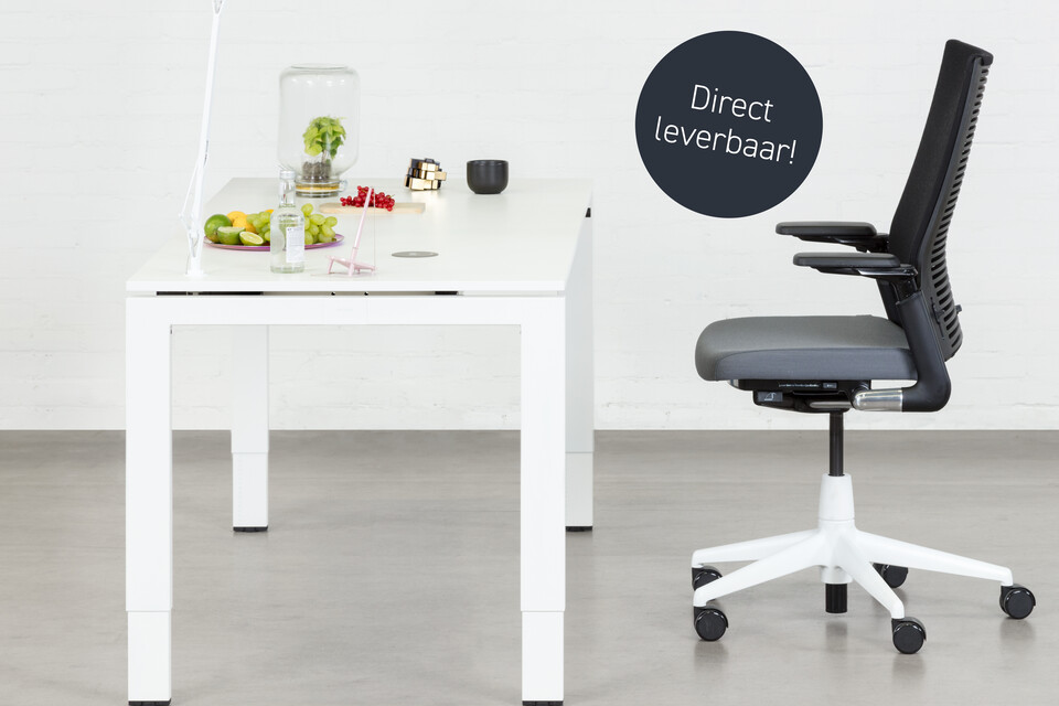 Royal Ahrend Balance 4 leg workstation in white with grey 2020 office chair left side view web