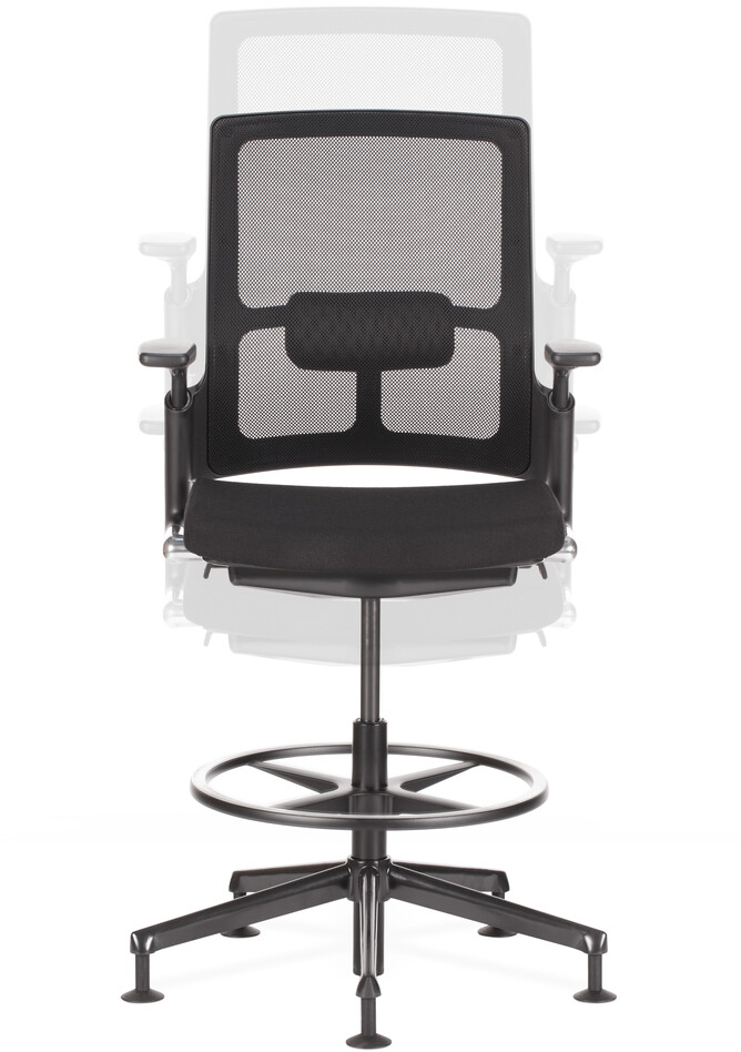 Royal Ahrend 2020 Verta work chair upholstered in black height range middle front view