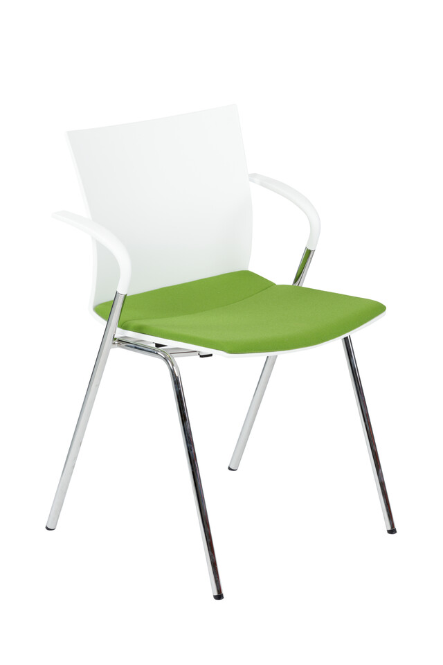 Royal Ahrend 463 4 leg chair with armrests and white shell with green upholstered seat front left view
