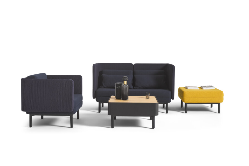 Royal Ahrend Charge set with black frames and upholstered in blue and yellow with styling front and left view