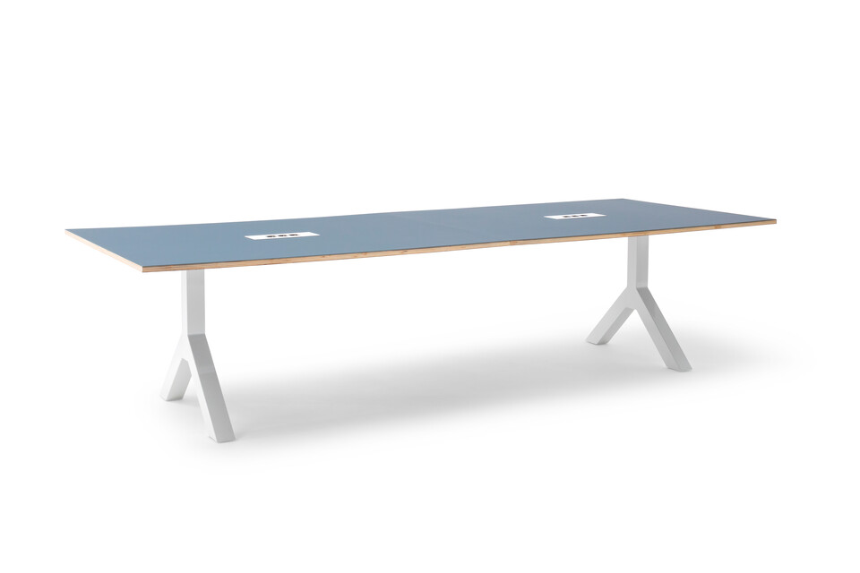 Gispen TEAM Design conference table with white legs and frame with blue tabletop front left view