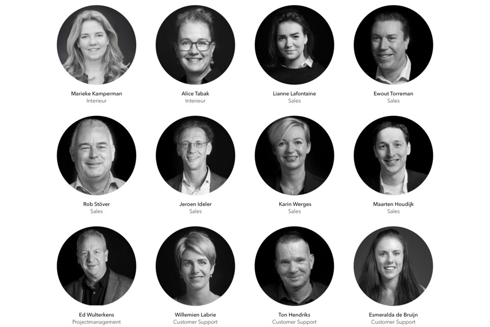 NL Gispen Onderwijs thema zwart wit portretten van onderwijsteam