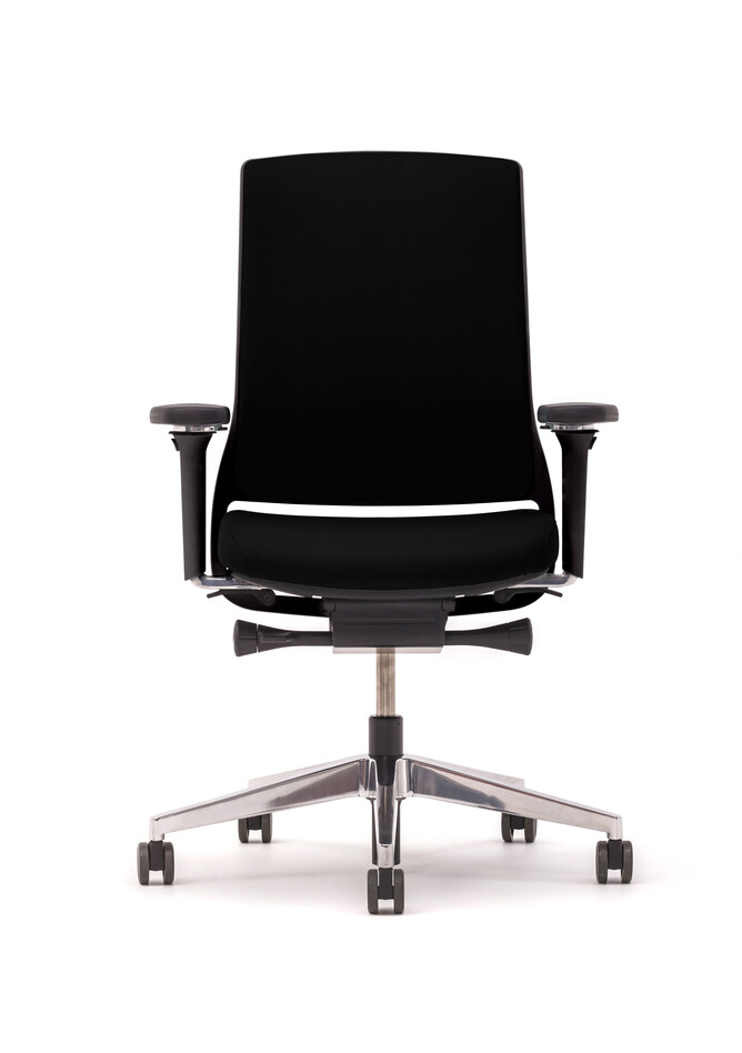 Gispen Zinn office chair upholstered in black front view