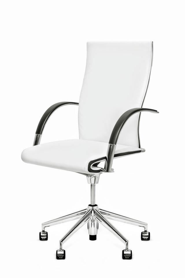 Royal Ahrend 350 office chair upholstered in white leather front right view