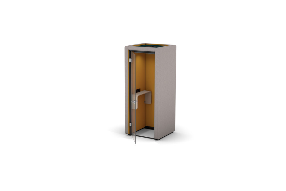 Gispen MOXX phonebooth 1 by 1 panel upholstered in grey and yellow with swivel door on 1 side front right view