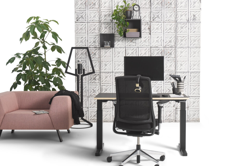 Gispen TMNL workstation in black with Zinn office chair and SETT armchair upholstered in pink with concrete backpanel front view