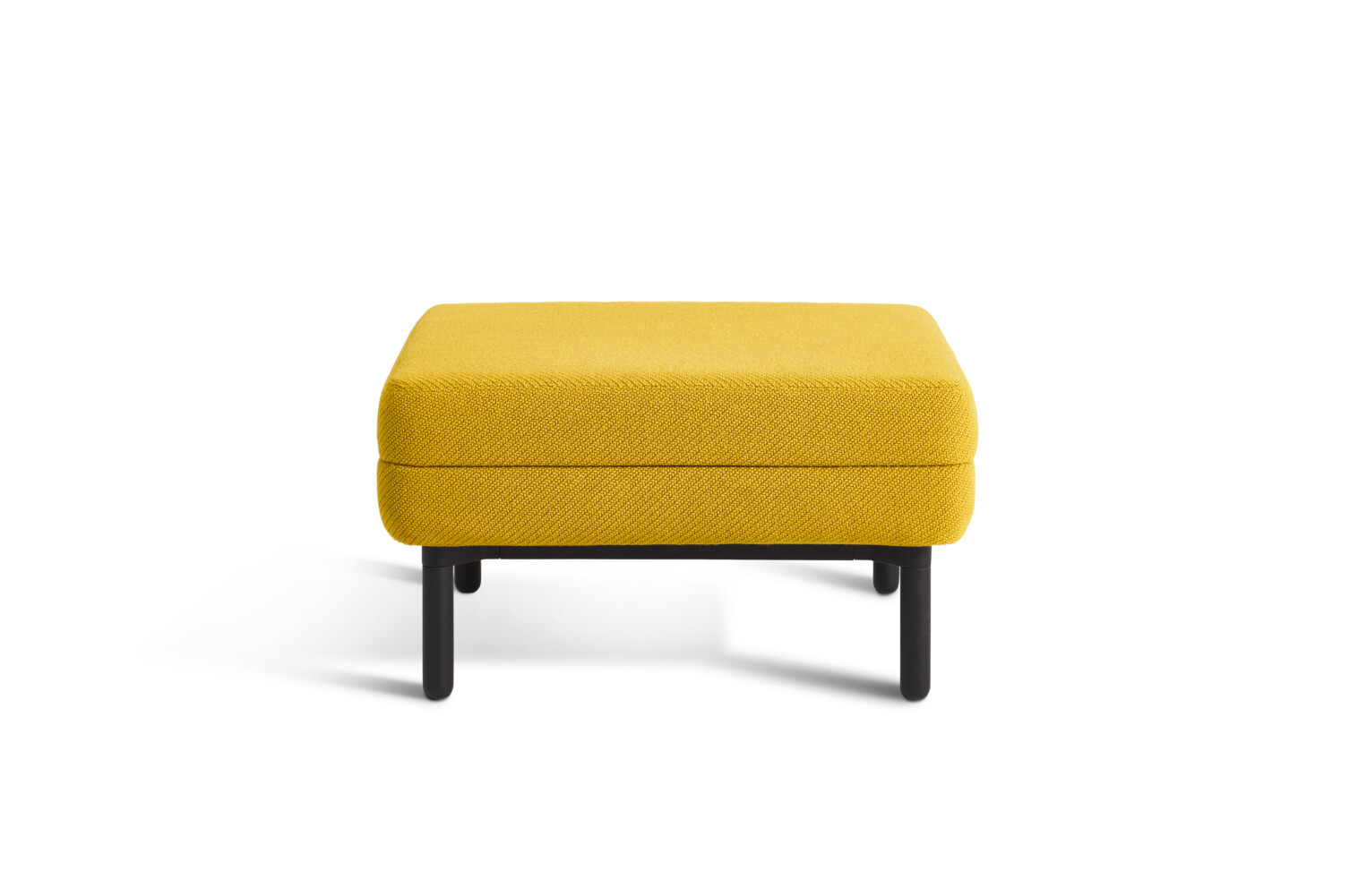 Gispen STEE pouf with black frame and upholstered in yellow front view
