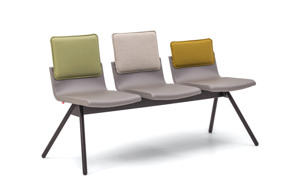 Gispen Triennial Wait chair with seats in silverguard sg94011 sterling and backs in silica 7039 10 and basel 123 and malta 7037 14 front left view