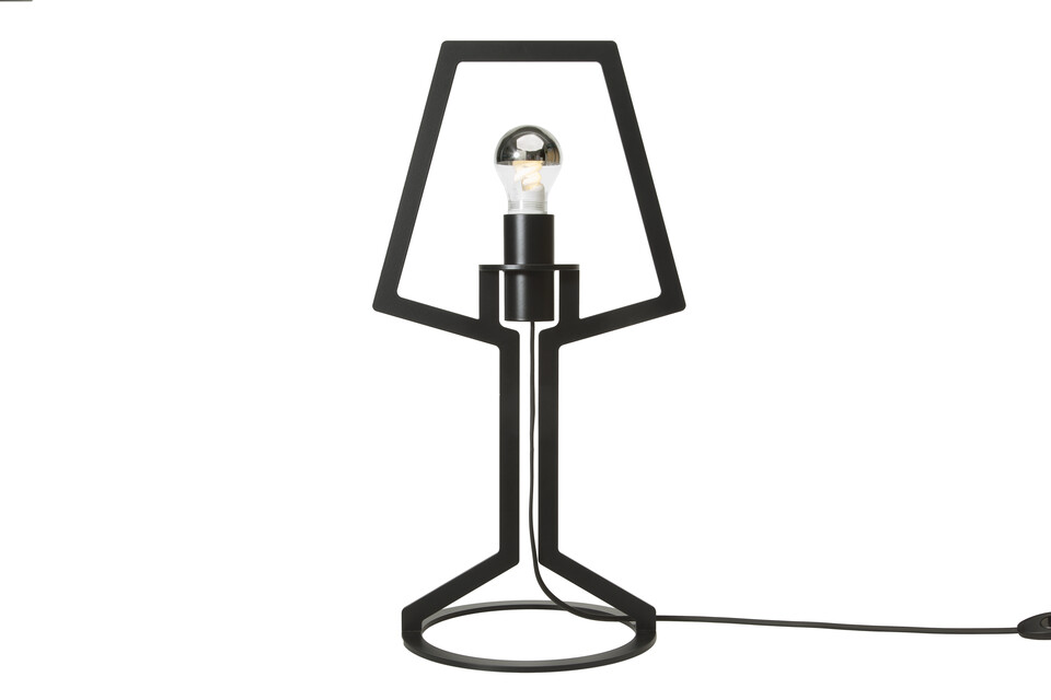 Gispen Outline tablelamp 53 with light on in black front view