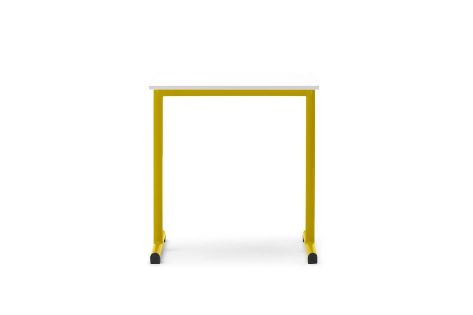 Gispen Eduu Work table with yellow frame and white tabletop front view