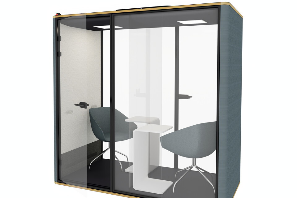 Royal Ahrend Silence Chat space in space in blue with hand free door opener and hygenic panel front right detail view