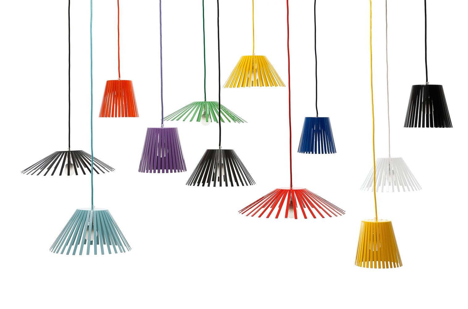 Gispen Ray pendant lamps in all colours front view