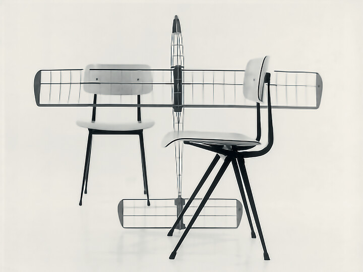 Ahrend Result chairs with wireframe model plain inbetween front right view
