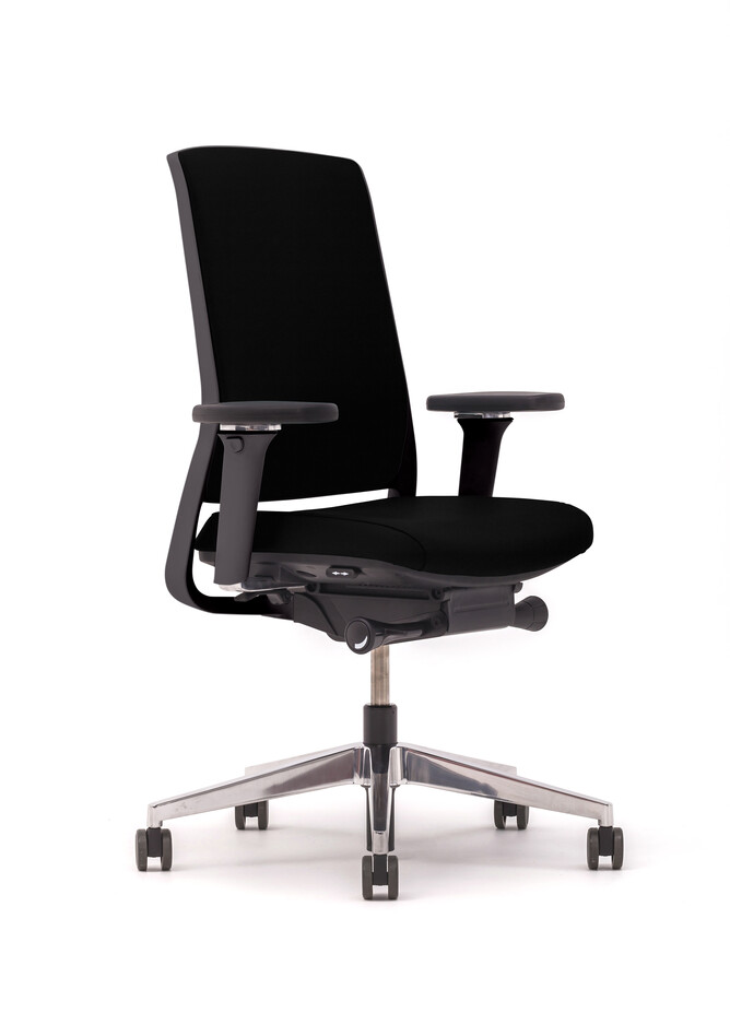 Gispen Zinn office chair upholstered in black front left view