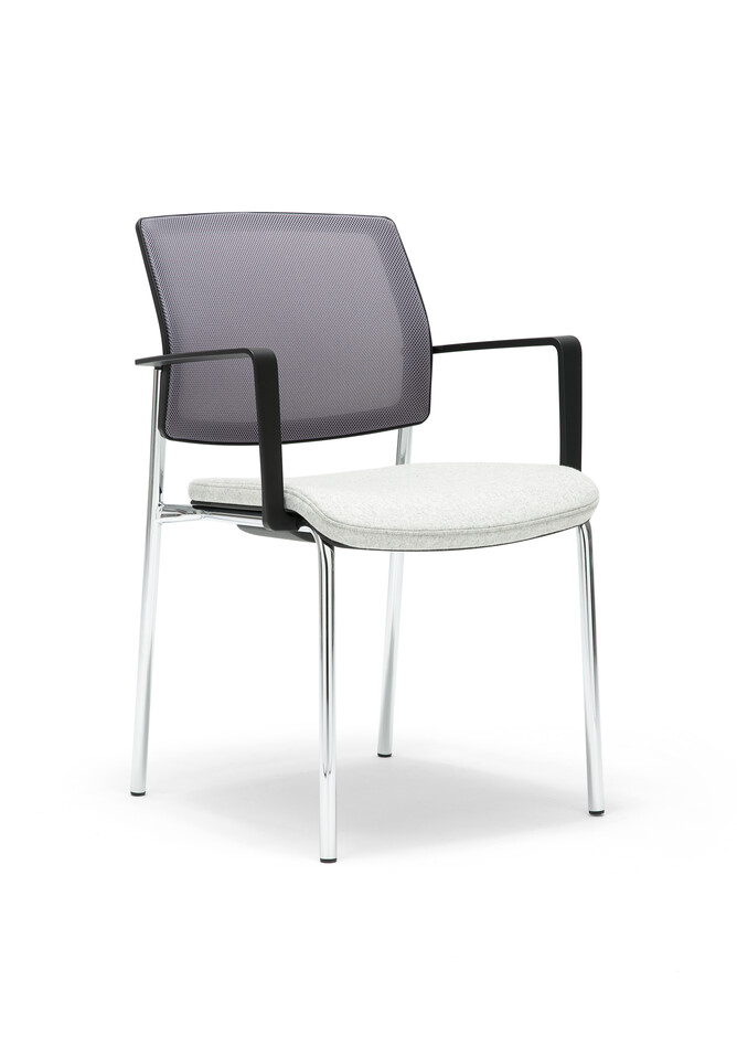Gispen Zinn 48A 4 legged visitor chair with armrests with grey seat and Silver Grey 60011 back front left view