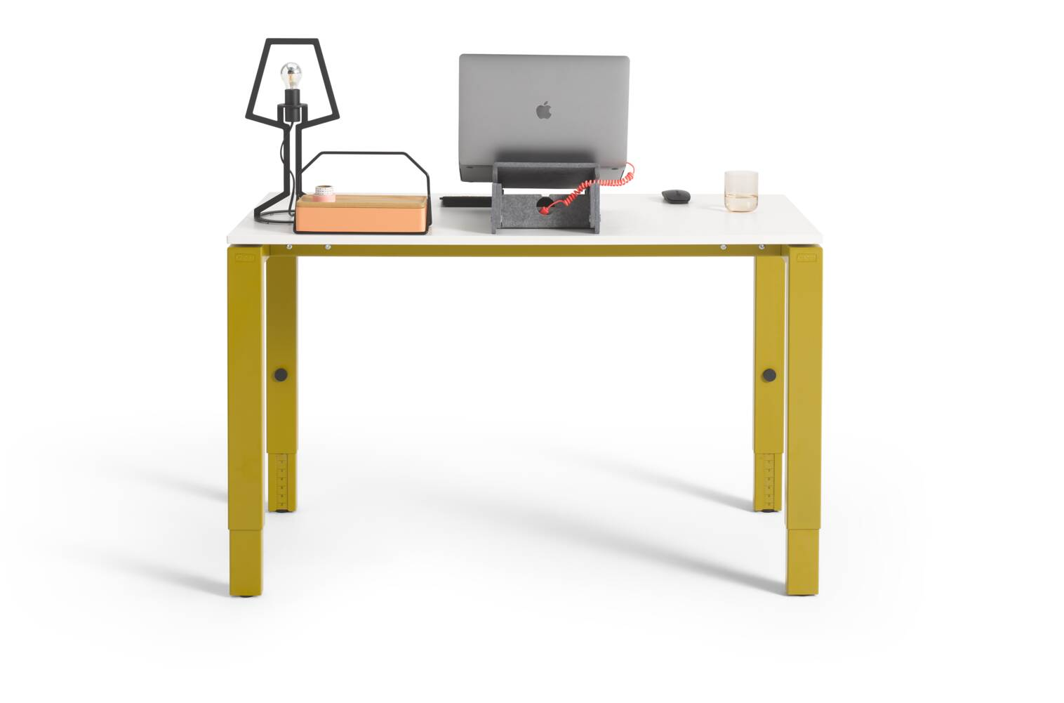 Gispen IC workstation in yellow with white tabletop and black Outline tablelamp and styling rear view