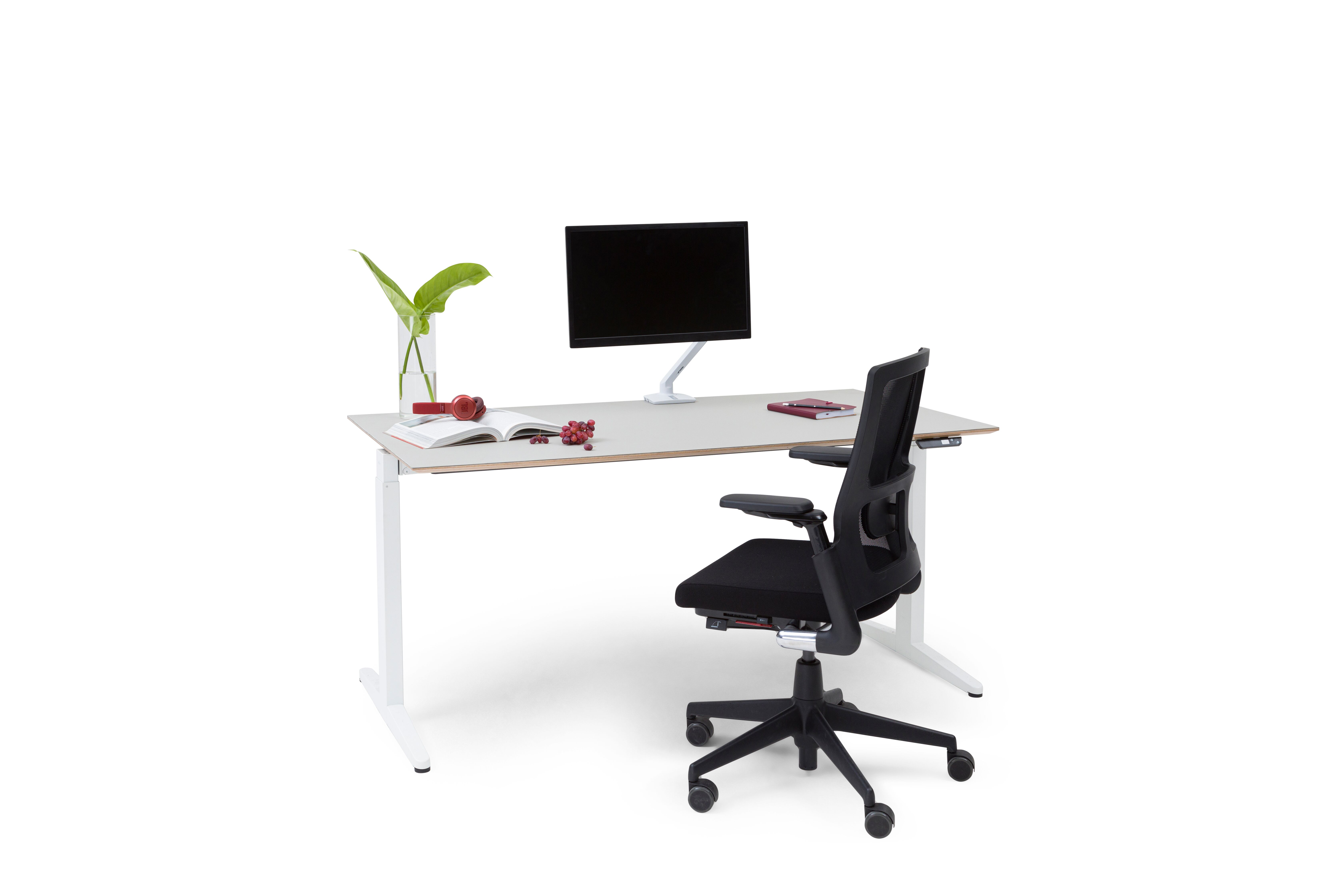 Royal Ahrend Balance folding desk with white frame and grey tabletop with black upholstered 2020 Verta office chair front left view