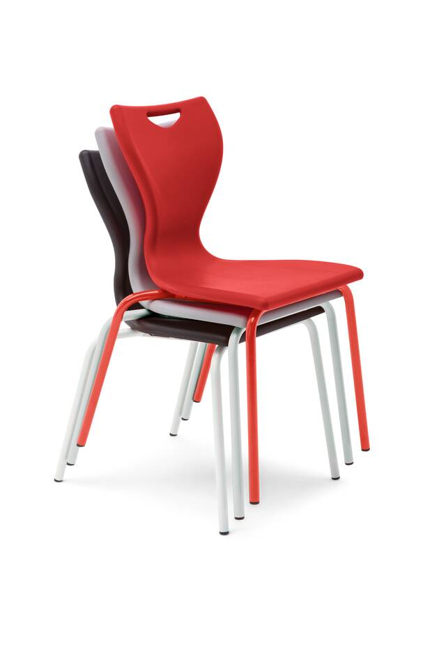 Gispen EDUU Slim Classic 3 stacked chairs in different colours front left view