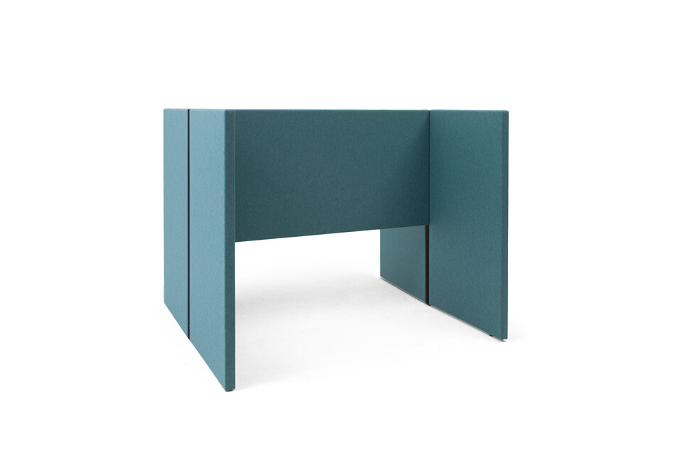 Gispen SEPP Acoustic screen for dual workstation with black frame and upholstered in turquoise front left view