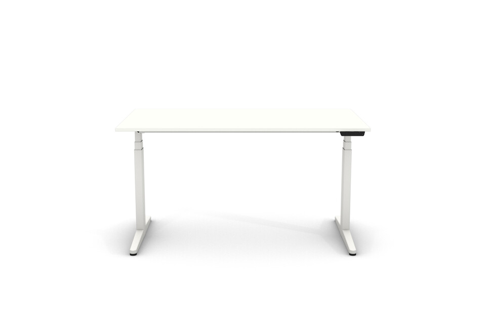 Gispen Home office desk SHI in white with white tabletop front view