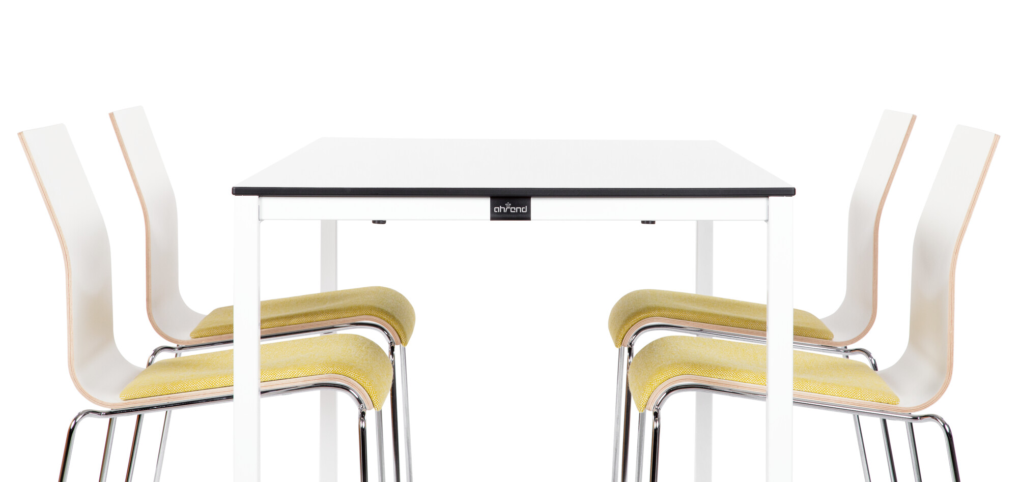 Royal Ahrend 314 square leg table in white with grey tabletop and 370 Chairs with yellow seat upholstery left side view