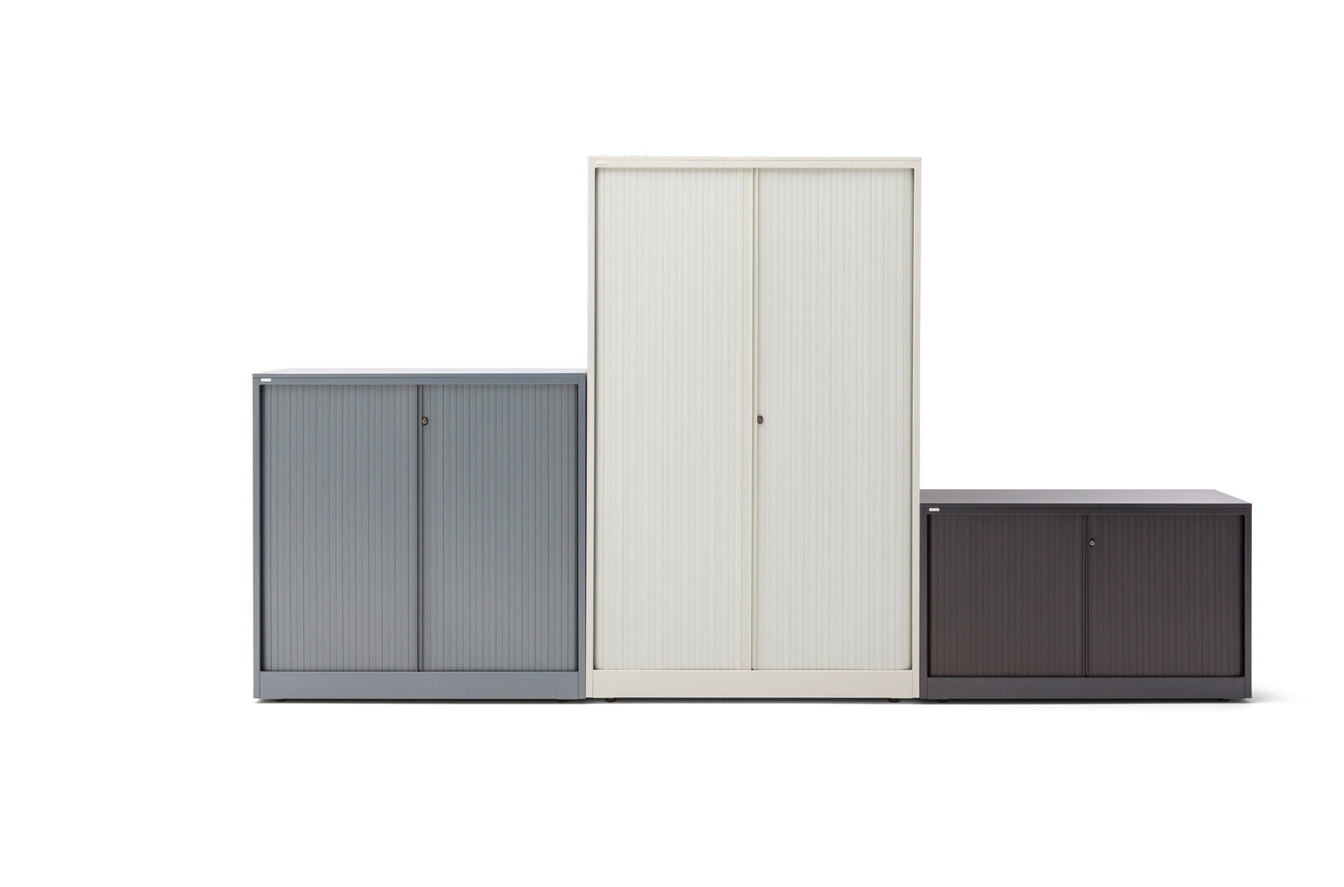 Gispen Meta tambour cabinet in grey white and black front view