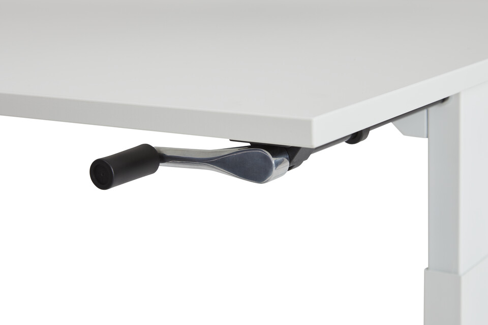 Gispen Home office HVM desk in white with hand crank front right detail view
