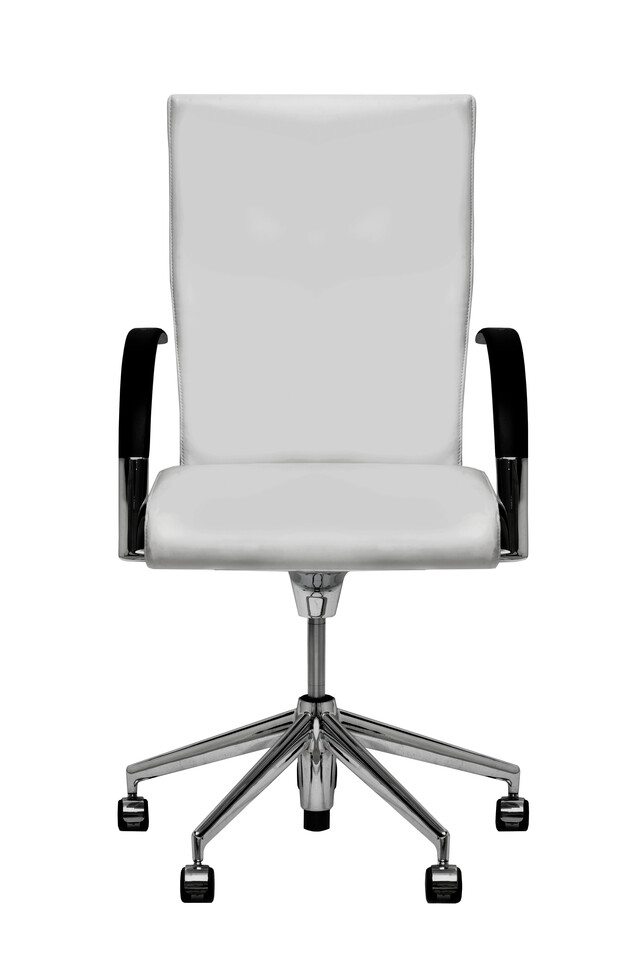 Royal Ahrend 350 office chair upholstered in white leather front view