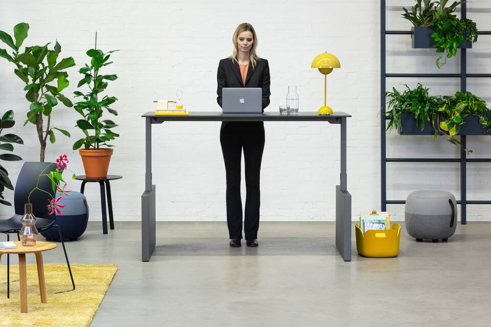 Royal Ahrend Balance Lift workstation in grey with charcoal top in stand position with female model standing front view