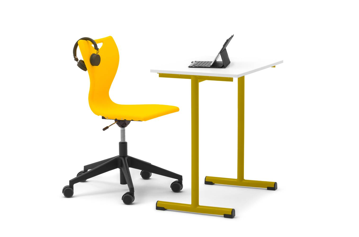 Gispen EDUU Work table with yellow frame and white tabletop and EDUU Slim Work chair with styling front left view