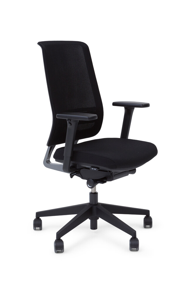 Royal Ahrend Ease office chair upholstered in black with black base front left view