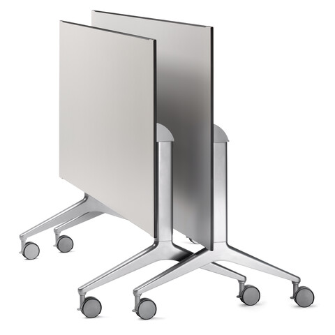 Royal Ahrend 22 folding tables polished on castors with grey top 2 folded next to one another front right view