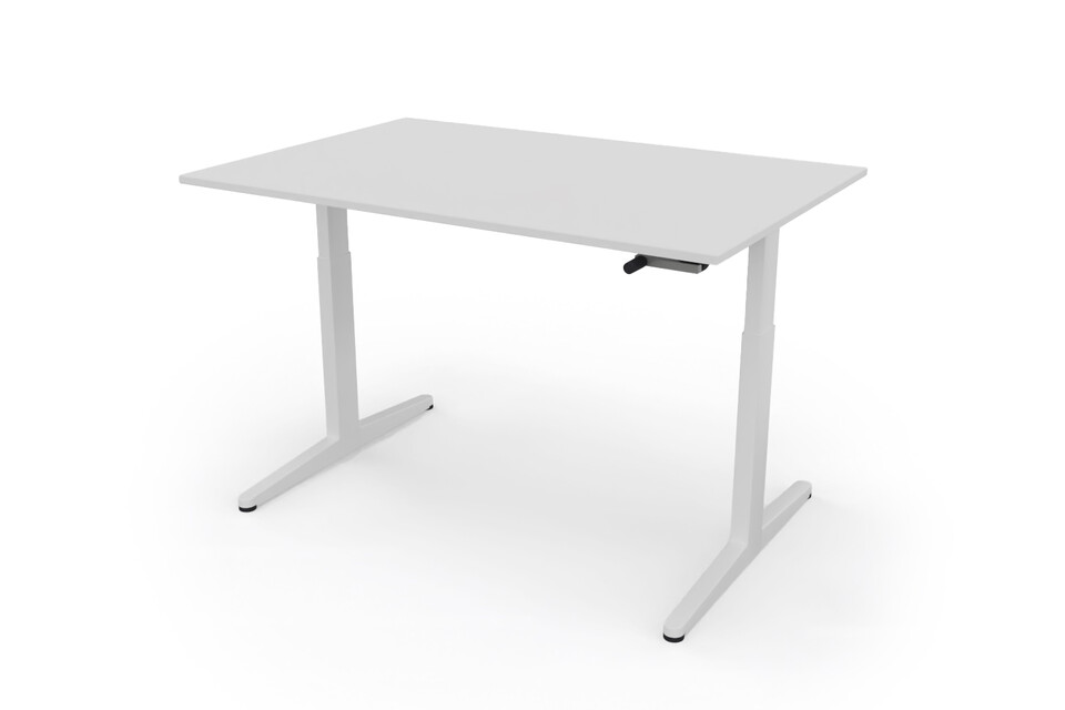 Ahrend Balance hvm desk 120 frame in white and tabletop in white front right view