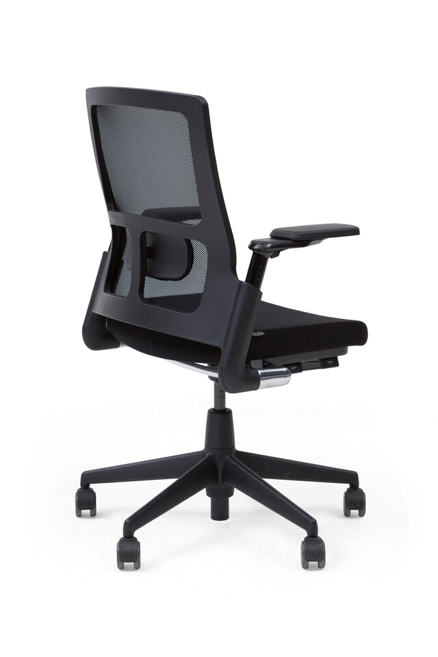 Royal Ahrend 2020 Verta office chair upholstered in black left rear view