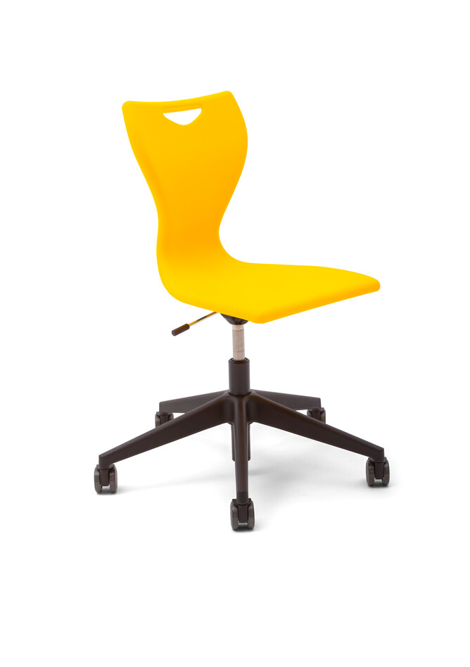 Gispen EDUU Work Slim chair with yellow shell front left view