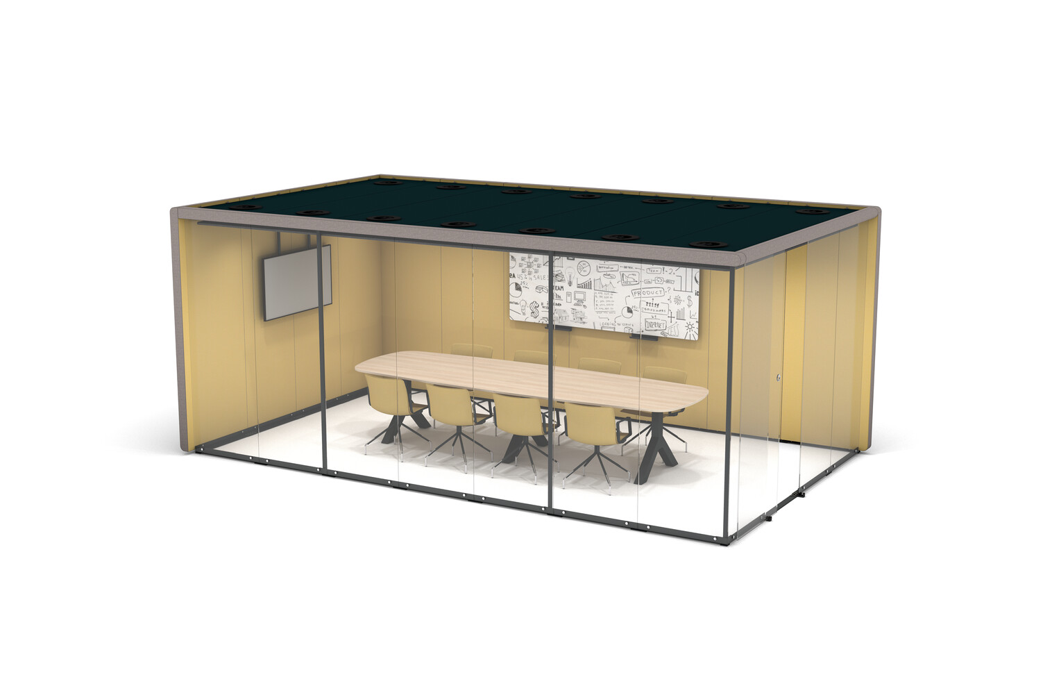 Gispen MOXX space in space 4 by 7 panels upholstered in grey and yellow with sliding door and Team Design table and Nomi Work chairs front right view