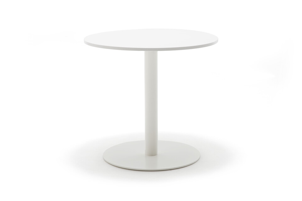 Gispen KOLM Column round conference table with white frame and white round 90 tabletop front view