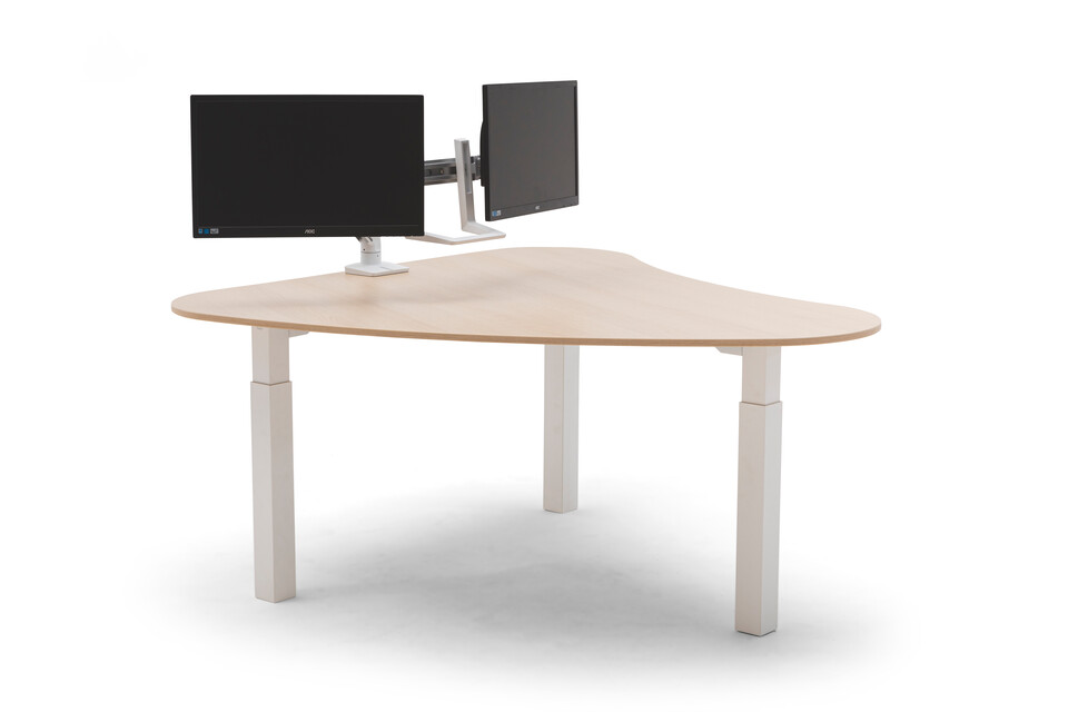 Gispen TMNL doc workstation sit sit in white with oak top with dual monitor screens front view