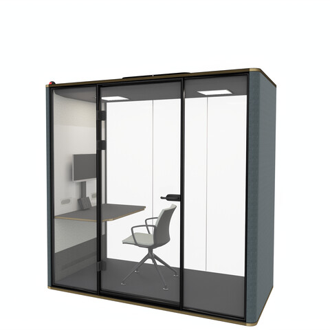 Royal Ahrend Silence Chat space in space in blue with hand free door opener and Well chair front right top detail view