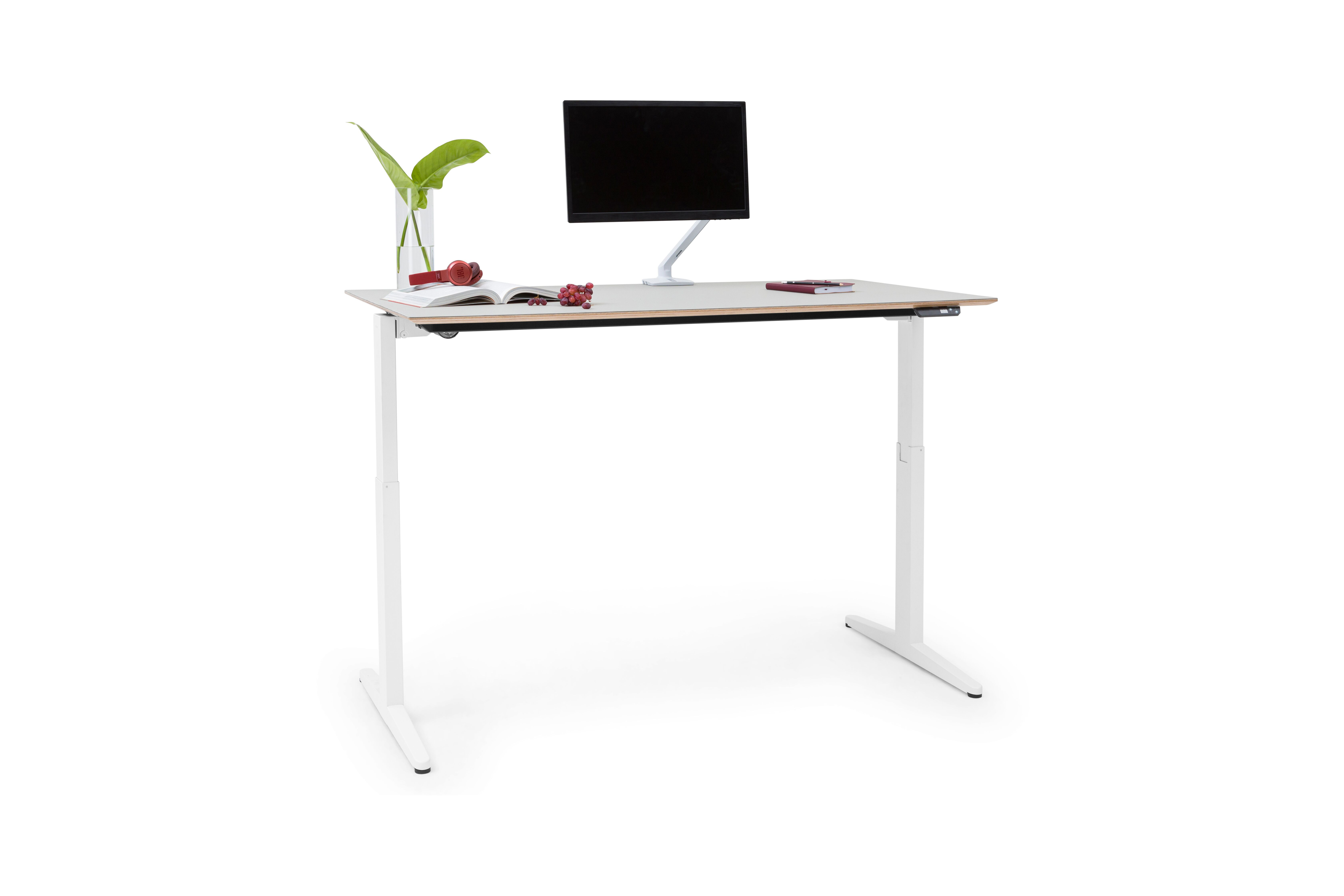 Royal Ahrend Balance folding desk with white frame and grey tabletop in standing position front left view